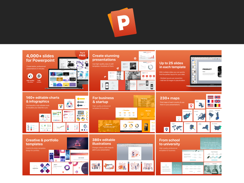 Powerpoint application Brand Design - finishing lines icon appstore composition applicaiton application ui presentation design slideshow icon design application icon branding ui simple design design graphic design