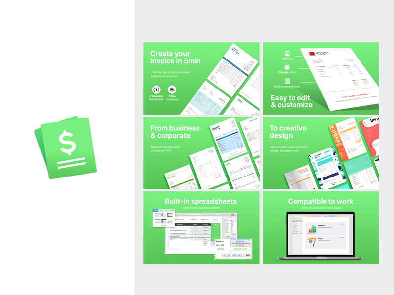Invoice - Icon & Screenshot design product design spreadsheets ui simple design icon design appstore application icon application ui pages numbers invoice branding graphic design