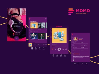 MOMO music app concept oswos oswosmedia fun logo music app ui assets experience player music player momo challenge android app ui music