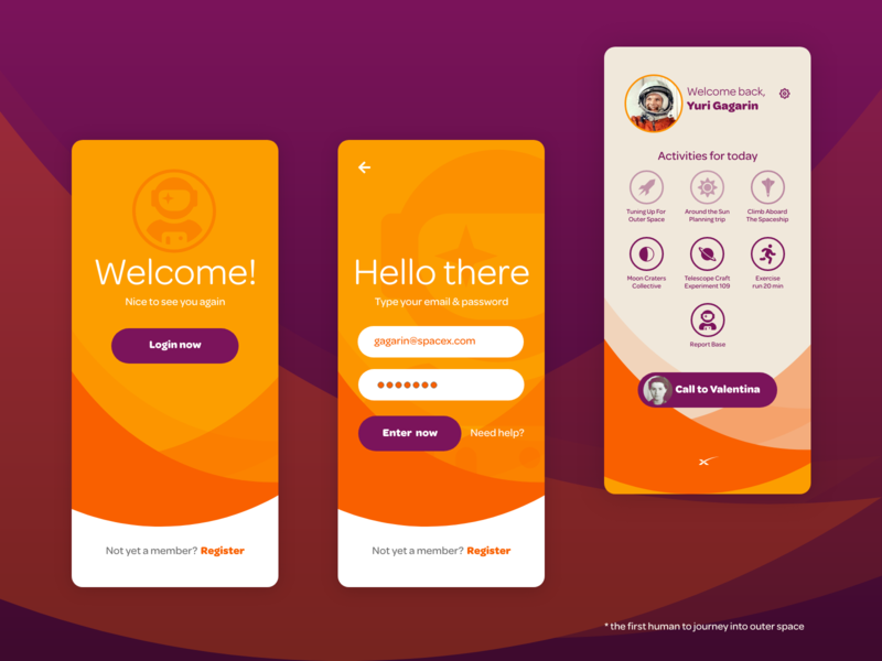 Welcome back Gagarin flymetothemoon space heroes profile dashboard concepto login adobexd design