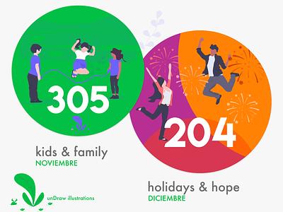 Stickers colonia noviembre y diciembre holidays  hope family kids undraw stickers colonial design adobexd