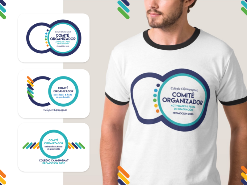 Comité Organizador • Promoción2020 basic shapes flat colorful proposal champagnat organization comite parents school logo design tshirt