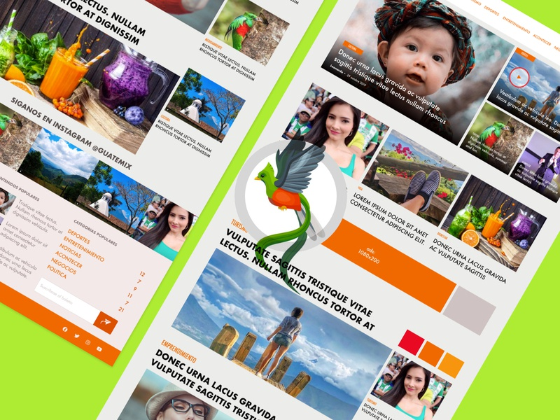 Mix news homepage orange lifestyle tourism homepage ui colorfull adobe xd adobexd prototype local new magazine newpaper