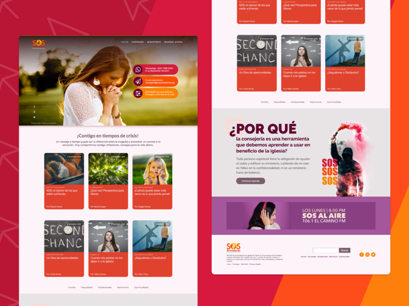 SOS Avivadores: website published! rebound sosavivadores consejeria church advisers helpme sos web homepage adobexd
