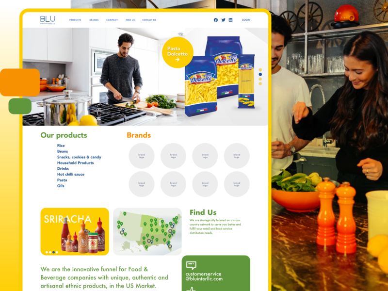 BLUE International  Food & Beverage company corporate brands adobexd ui food products webdesign homepage