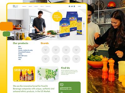 BLUE International  Food & Beverage company corporate brands adobexd ui food products webdesign homepage