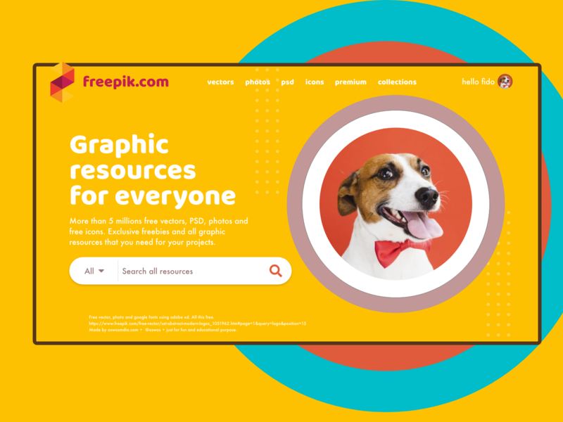 Freepik.com fido mode freebie fun webdesign home thankyou resources free dog owner petlover design generosity freepik homepage