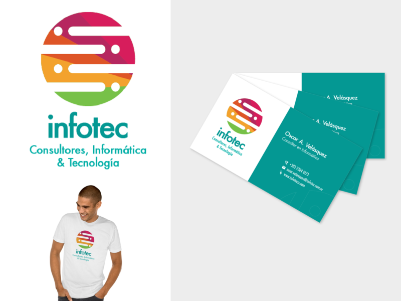 dribble infotech logotype i  card tech support business card logo