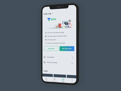 Introducing Plus Subscriptions 🎉 ui design ui  ux design animation ui award trophy illustration education teaching ios android app iphone model mockup 3d subscription pricing plus unacademy