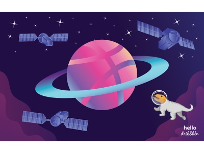 Dribbble Planet hello dribbble hello hello world debut flight stars satellite space art dog landscape astronaut galaxy space vector illustration