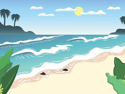 Beach beach house beach illustration flatdesign blue sky illustrator vector illustration beach
