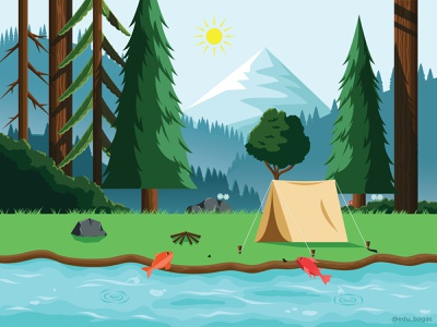 Dream Forest mountain environment landscape river camping nature detail forest forest illustration vector illustration
