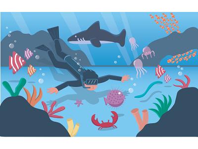 Under the Sea fish underwater detail beach landscape vector illustration