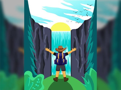 Hello World ! adventure cowboy man nature blue green tree rocks cloud sky birds sun sunny landscape detail vector illustration waterfall jungle forest