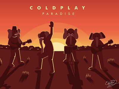 Coldplay-Paradise album cover elephant backlight sunset illustration paradise coldplay orange sunset nature landscape detail vector illustration