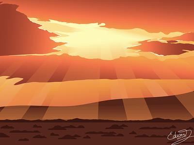 Light from Top sunrise sunset yellow orange mountain desert cloud light nature landscape detail vector illustration