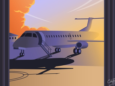 Plane in Airport airline environment contrast grey blue orange sunset airplane airport adobe illustrator ai ui nature landscape detail vector illustration
