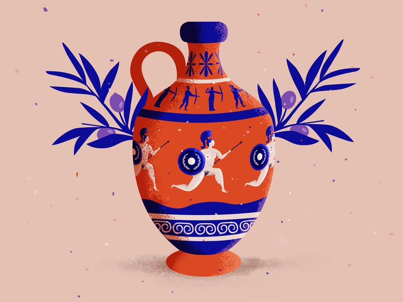Warrior on a vase art history greek art illustration warrior design