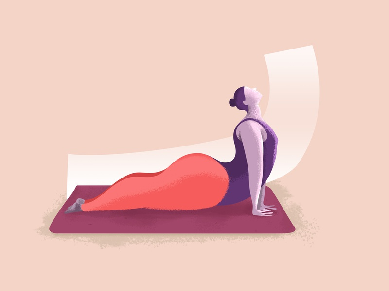 Fat yogi in upward facing dog yoga yogi art illustration design