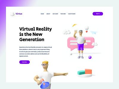 Virtus VR Concept web design strap design home screen branding illustration 3d art 3d ux design ui