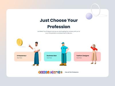 Choose Your Profession ux vector illustration 3d object 3d art branding ui design