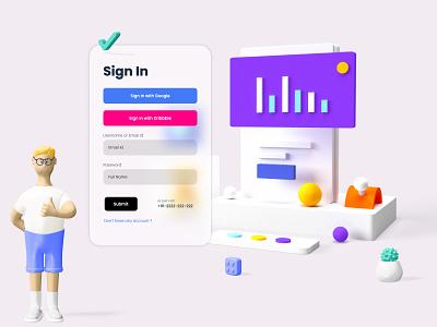 Sign In Form branding strap design web design 3d artwork 3d art 3d home screen form sign ux ui