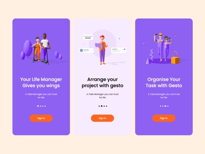 Login Steps Screen life manager amptus ux app design strap ui home screen 3d art 3d