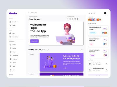 Gesto - Dashboard gesto task management app task manager life app home screen dashboad 3d modeling 3d illustration 3d art 3d strap ui design