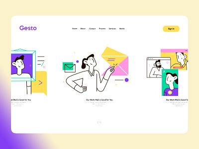 Gesto Home Screen strap vector digital agency illustration amptus app branding home screen ui design