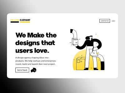 yellow elephant concept design agency advertising digital agency amptus ux branding ui home screen strap design
