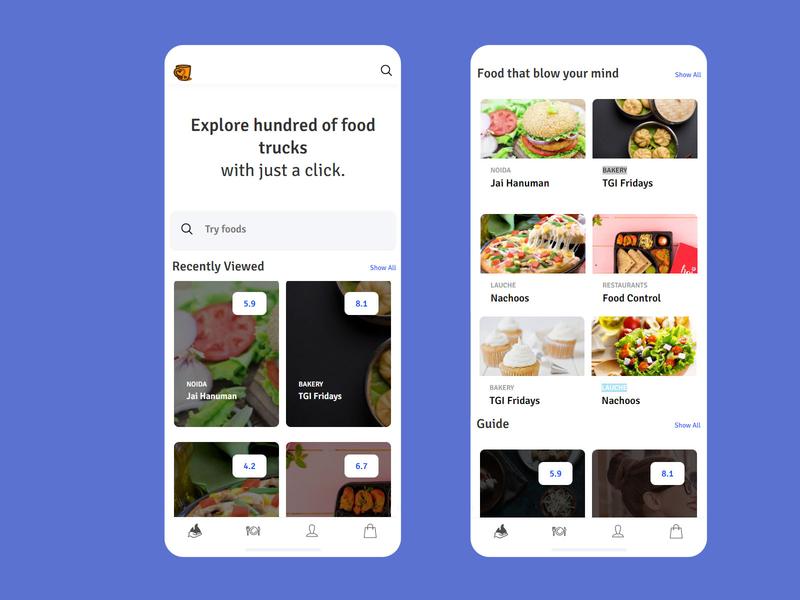 Food App home screen app design food app