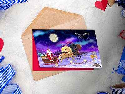 Сhristmas card (vector) unique новый год новогодний дед мороз business illustration new year card new year vector design сhristmas card