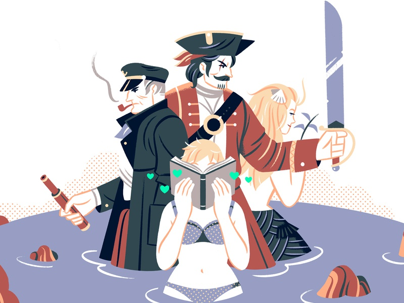The Sea mermaid pirate ocean sea teaching editorial editorial illustration illustration character