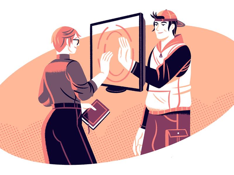 Online Teaching 2 teacher online teaching editorial illustration editorial illustration character