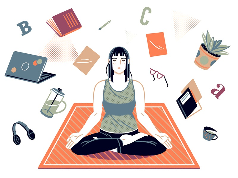 3 mantras to fight impostor syndrome meditation medium article reflection yoga editorial editorial illustration editorial art illustration character