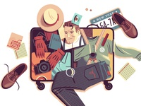 Suitcases teaching suitcase medium editorial illustration editorial illustration character