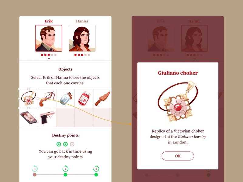 Dracula's Trail of Blood app inventory dracula visual design product design ui interface character illustration