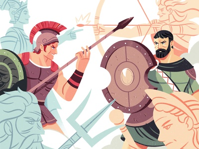 Iliad comic art character design battle warrior greek myth character illustration
