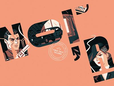 Noir! (v2) gun typography noir character illustration