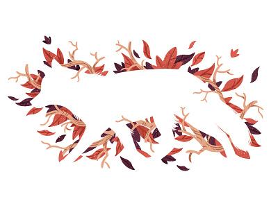 White Fox editorial illustration nature fox editorial illustration