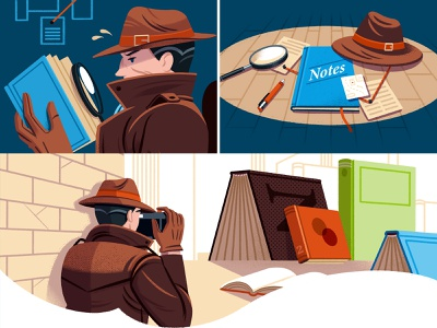 Market Research for Authors (Checklist) reedsy detective editorial illustration writing research character illustration