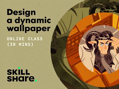 Design a Dynamic Wallpaper wallpaper scientist monster free skillshare free class class learning design character illustration