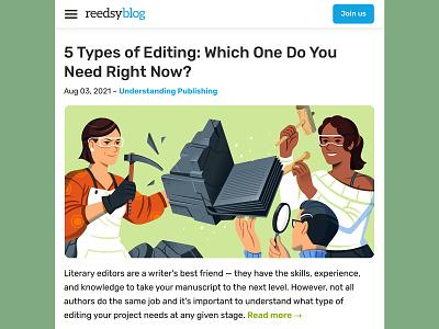 Types of Editing design reedsy editing writing editorial illustration editorial character illustration