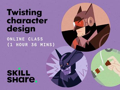 Twisting Character Design (Skillshare class) methodology procreate design teaching skillshare process class batman character illustration