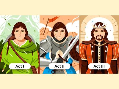 Dynamic vs Static characters writing design editorial illustration bard warrior editorial character illustration