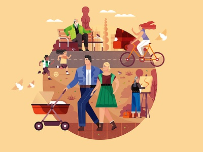 Human Rights in the City city couple skyline citizen landscape character vector