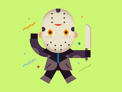 Jason wants to party party sticker horror monster jason character vector