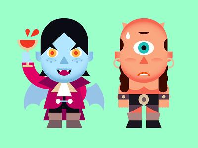 iMonstickers (full set) illustration design character sticker cyclops vampire monster