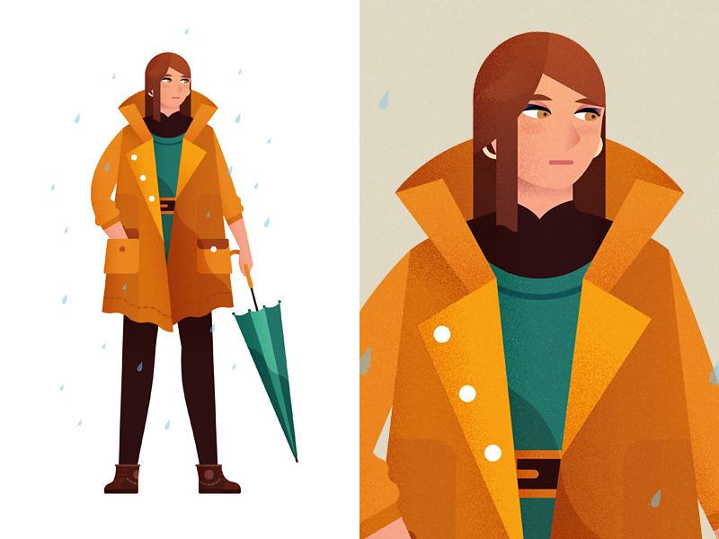 Ana illustration girl raincoat umbrella rain design character vector