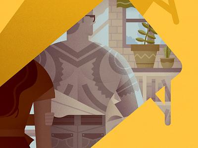 Portfolio update cover coverillustration coverdesign tattoo man vector illustration portfolio